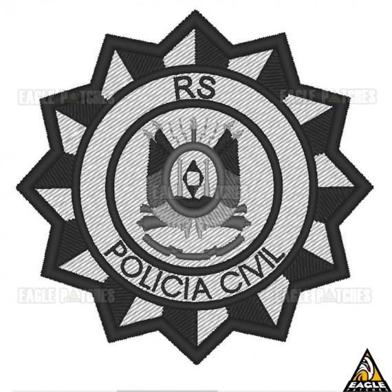 Patch Bordado Brasão Polícia Civil Cinza - RS