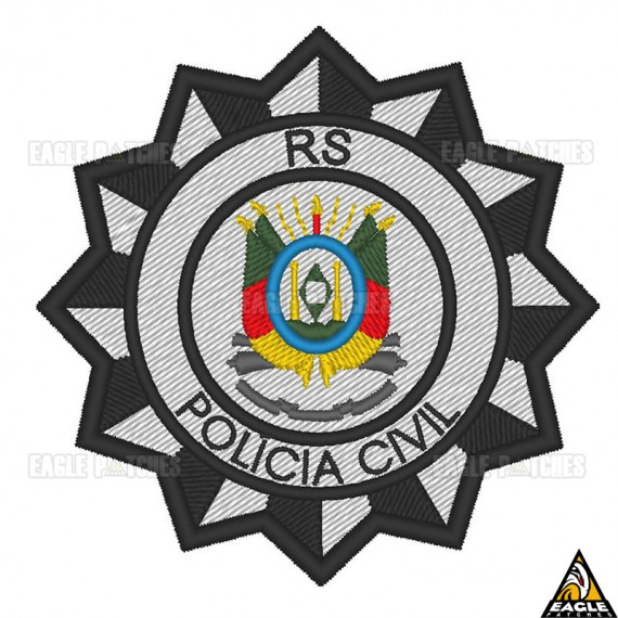 Patch Bordado Brasão Polícia Civil Colorido - RS