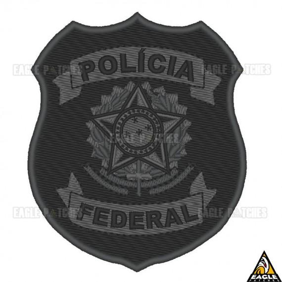 Patch Bordado Brasão Polícia Federal Cinza