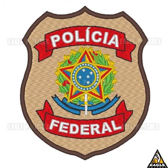 Patch Bordado Brasão Polícia Federal Colorido