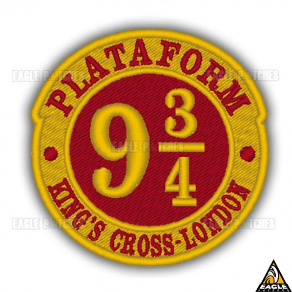 Patch Bordado Harry Potter Plataform 9 ¾ Dourado