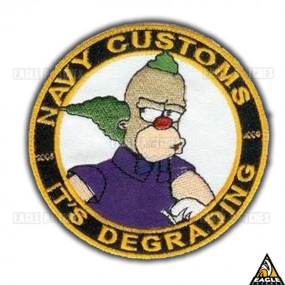 Patch Bordado Palhaço Krusty - Marinha Americana
