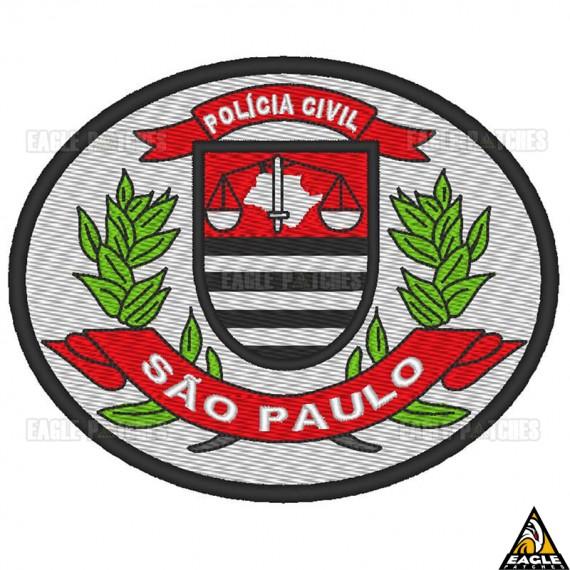 Patch Bordado Brasão Polícia Civil - SP