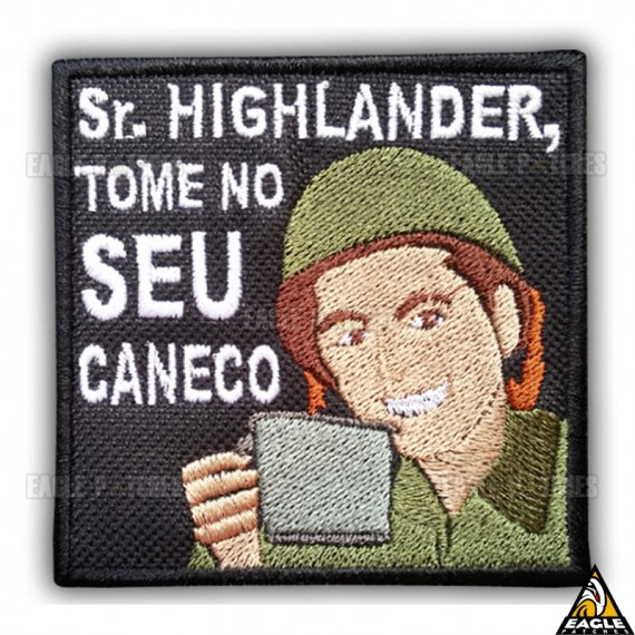 Patch Bordado Sr. Highlander, Tome no seu caneco